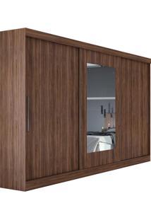 Guarda Roupa Casal Com Espelho 3 Portas 4 Gavetas Com Kit Gaveta Montebello Marrom - Tricae