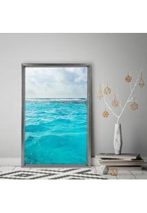 Quadro Com Moldura Chanfrada Ocean Grafitti Metalizado - Médio