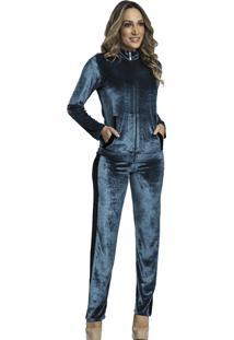 Pijama Recco Plush Gloss E Plush Cotele Azul - Kanui