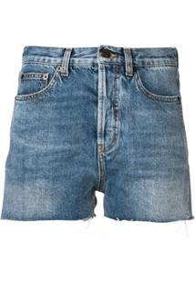 Saint Laurent Short Jeans Destroyed - Azul