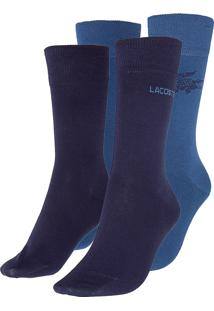 Kit Meia Lacoste Bordado Azul