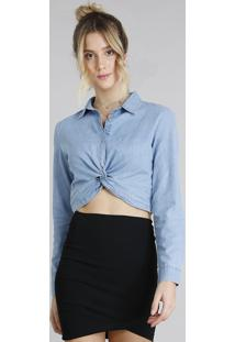 ... Camisa Jeans Feminina Cropped Com Nó Manga Longa Azul Claro c3e4b1699fd