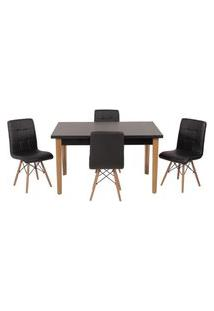 Conjunto Mesa De Jantar Luiza 135Cm Preta Com 4 Cadeiras Gomos - Preto