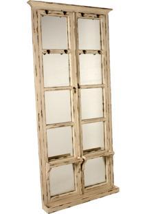 Espelho De Madeira Para Parede Com Cabideiros Tudor