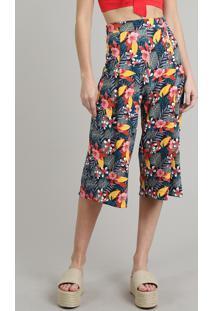 Calça Feminina Pantacourt Estampada Floral Com Botões Preta