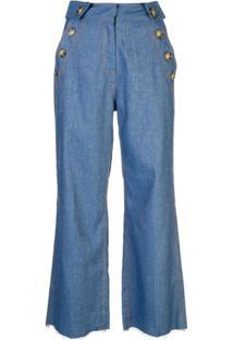 Derek Lam 10 Crosby Calça Pantacourt Jeans Com Detalhe De Abotoamento - Azul