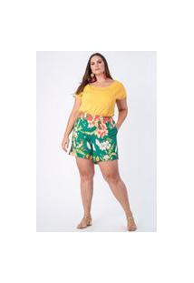 Shorts Estampado Popflor Plus Size Verde