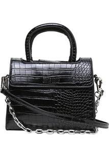 Bolsa Santa Lolla Mini Bag Croco Feminina - Feminino-Preto