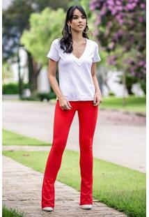 Calça Skinny Crepe Fendas Vermelha
