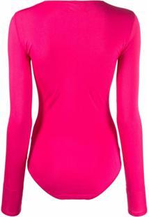 Mm6 Maison Margiela Body Com Estampa De Logo - Rosa