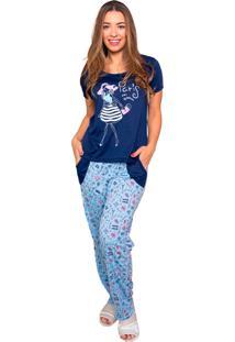 Pijama Bella Fiore Modas Longo Alice Azul Marinho - Tricae