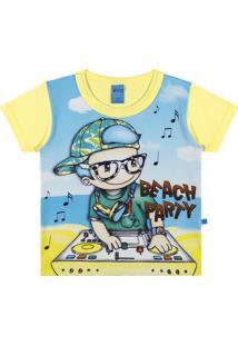 Camiseta Manga Curta Meia Malha Penteada Lecimar Amarela