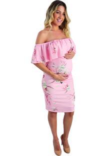 Vestido Gestante E Amamentação Mommy Gold Rosa
