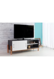 Rack Tv Preto Moderno Vintage Retrô Com Porta De Correr Branca Eric - 126X43,6X48,5 Cm