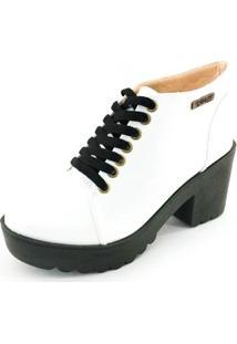 Bota Quality Shoes Tratorada Verniz Feminina - Feminino-Branco