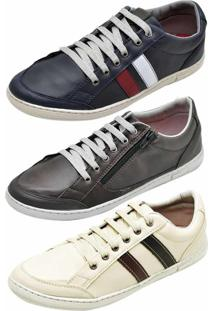 Kit Sapatênis 3 Pares Casual Snap Shoes