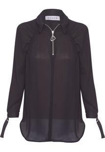 Camisa Feminina Zip Raglan - Preto