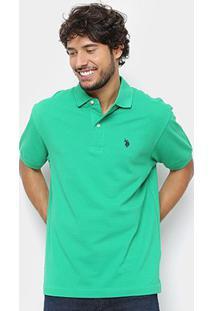 Camisa Polo U.S. Polo Assn Básica Lisa Masculina - Masculino-Verde