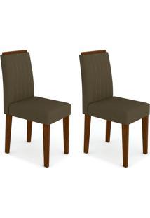 Conjunto Com 2 Cadeiras Ana Castanho E Marrom Escuro