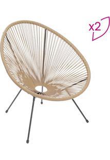 Jogo De Cadeiras Tranã§Adas- Natural & Preto- 2Pã§S
