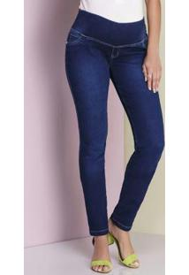 Calça Skinny Jeans Moletom Azul