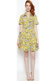 Vestido Com Botões- Amarelo & Branco- Le Fixle Fix