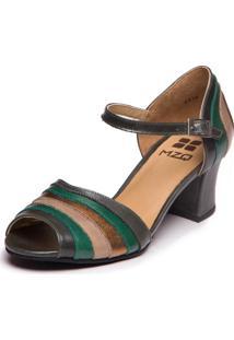 Sandalia Mzq Greta Folha / Esmeralda / Taupe / Metalizado Bronze 7844