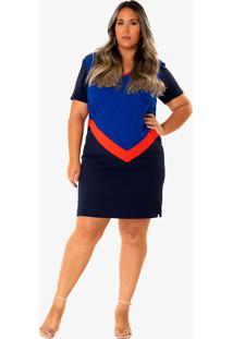 Vestido Midi Penã©Lope Plus Size Azul Escuro - Azul - Feminino - Poliã©Ster - Dafiti