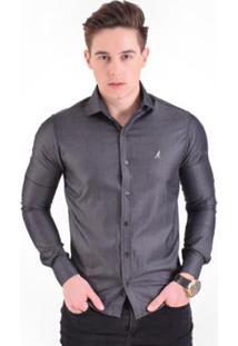 Camisa Social Listrada Masculina - Slim - Masculino-Cinza