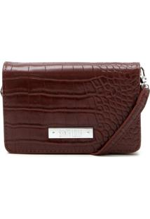 Clutch Santa Lolla Croco Marrom