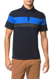 Camisa Polo Liquid Tri Color - Marinho - P