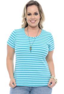 Blusa Listrada Azul Plus Size
