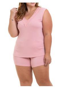Pijama Curto Regata Liganete Sepie (1051-Pl) Plus Size - Rose