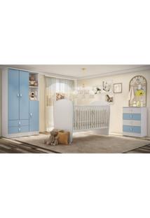 Quarto De Bebê Completo Pimpolho Com Guarda Roupa 3 Portas Cômoda E Berço Siena Móveis Branco/Azul