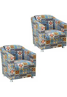 Kit 02 Poltronas Decorativa Tilla Recepção Suede Estampado Azulejo Português D06 - D'Rossi