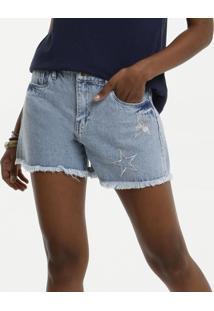 Short Feminino Jeans Bordado Barra Desfiada Marisa