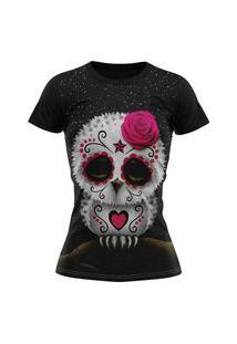 Camiseta Femina Lucinoze Camisetas Manga Curta Coruja Mexicana Preta
