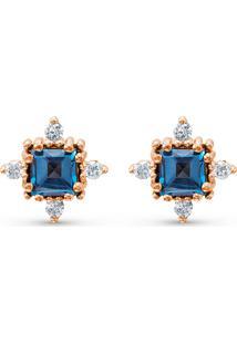 Brinco Ouro Rosã© Topã¡Zio London E Diamantes