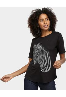 Camiseta Acostamento Zebra Feminina - Feminino-Preto
