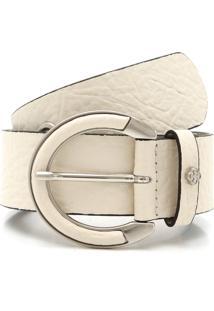 Cinto Couro Capodarte Textura Off-White
