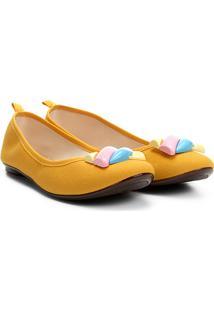 Sapatilha Moleca Aplique Colorido Feminina - Feminino-Amarelo