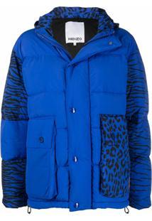 Kenzo Jaqueta Com Padronagem De Leopardo E Tigre - Azul