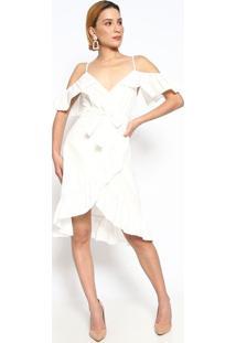 Vestido Com Babado & Franzidos- Branco- Le Fixle Fix