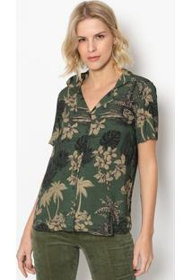 Camisa Floral Com Botãµes- Verde Escuro & Preta- Inteintens