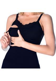 Camiseta De Amamentação Com Bojo Removível Preto G - Dica043 Dica De Lingerie
