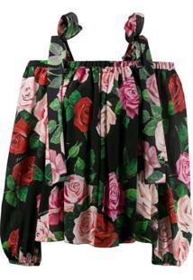 Dolce & Gabbana Blusa Estampada Com Vazado Nos Ombros - Preto