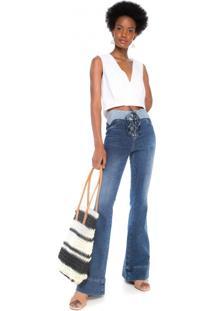 Calça Jeans Flare Cós Sobreposto