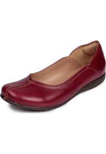 Sapatilha Couro Dali Shoes Retrô Feminina - Feminino-Vermelho
