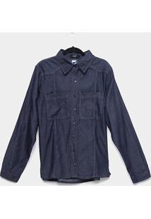 Camisa Jeans Manga Longa Naif Plus Size Com Bolsos Feminina - Feminino-Azul