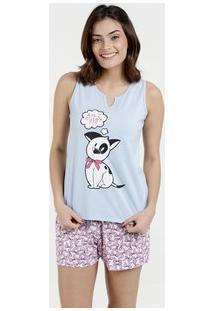 Pijama Feminino Estampa Cachorro Sem Mangas Marisa